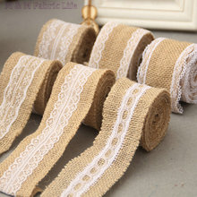 5cm*200cm/roll 4rolls/lot lace jute burlap ribbon linen roll DIY jute roll Christmas decoration party suppliers tabel decoration(China)