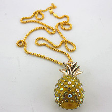 Free shipping fashion jewelryFashionable woman pineapple yellow gold necklaceDesigner jewelry factory