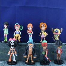 Anime One Piece Mini Action Figures The Straw Hats Luffy/Roronoa/Zoro/Sanji/Chopper Figure Model Toys 9pcs/set  T5478