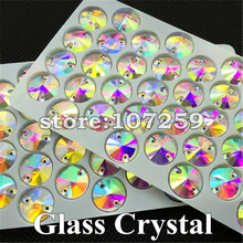 200pcs/box 12mm Crystal AB Rivoli Sewing Glass Rhinestones Flat Back 2 Holes Round Circle Sew On Stone for Cloth DIY(China)