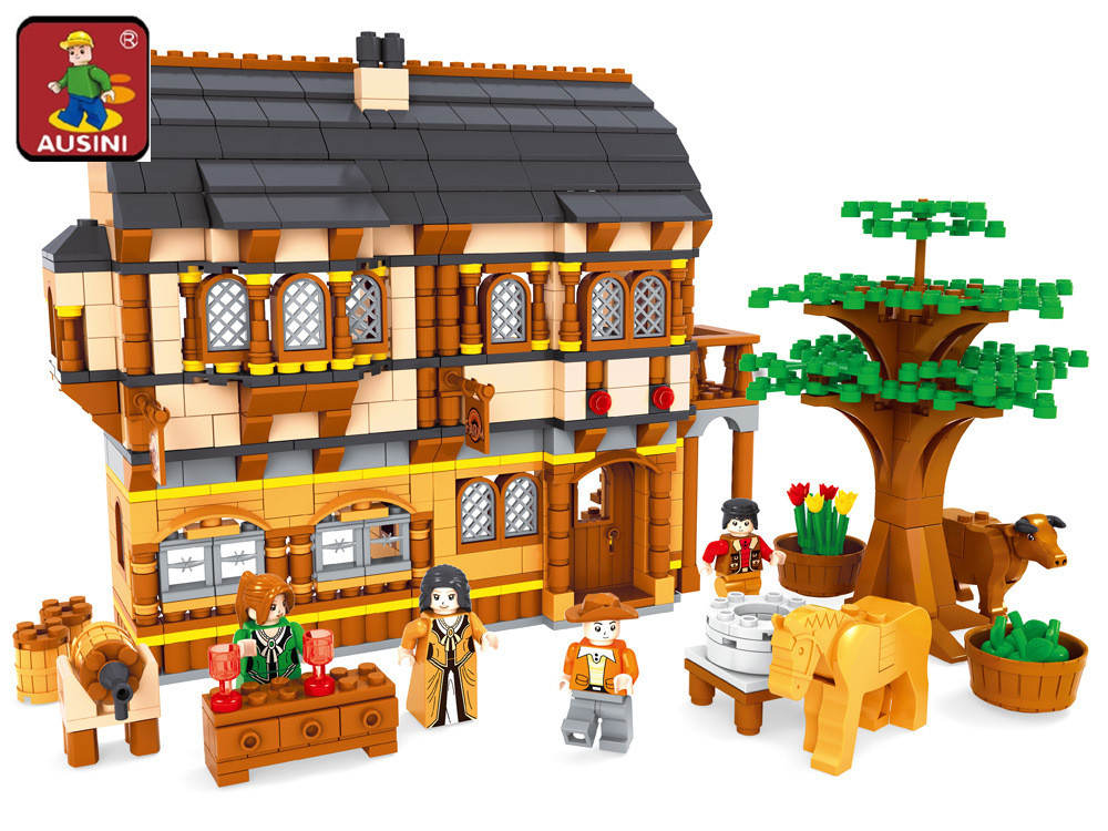 AUSINI 28002 Ausini Medieval Happy Farm Building Blocks Sets 838 Pcs Educational Construction Brick Toys for Children<br>