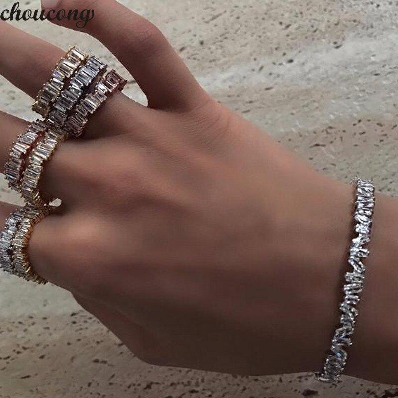 Women/'s Ladies Large White Stone CZ Eternity Rings Wedding Evening Party Jewelry