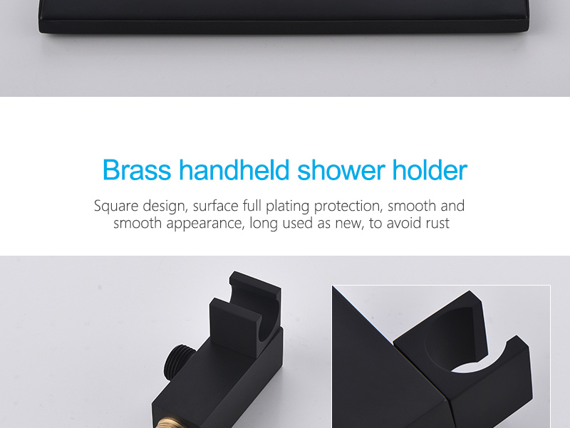 hm Black Bathroom Thermostatic Mixer Shower Faucet Set Wall Mount 10 Air Booster Rainfall Brass Shower System Head Save Water (22)