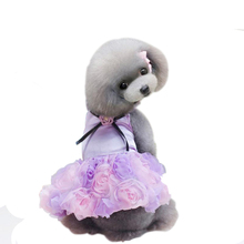 2017 Spring And Summer New Skirt Teddy Puppy Pet Dress Princess Rose Dress Pompon Dress(China)