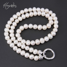 Thomas Near Round Freshwater Pearl Necklace with Large Ringlasp Fit TS-Pendant, Fine TS-Jewelry Gift for Women(China)