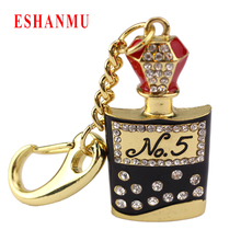 Famous Bottle 8GB 16GB 32GB 64GB Gift Jewelry Keychain Crystal USB Flash Drive 2.0 Pen Memory U Disk Pendrive Usb Stick Key