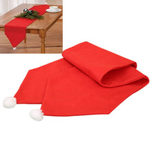 1Pcs Non Woven Fabric Red Table Runner Christmas Party Dinner Table Runner Tablecloth Christmas Flag Home Decoration 2017(China)