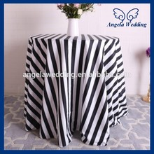 CL048A Wholesale 2016 good quality elegant wedding black and white stripe table cloth