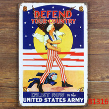 Vintage home wall decor metal posters print crafts decoration Tin signs retro painting DEFEND YOUR COUNTRY ENLIST 20*30 CM