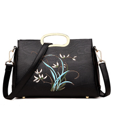 Fashion Exquisite Embroidery Women Handbag Unique Design Female PU Leather Office Totes Bags Ladies Portable Shoulder Bag(China)