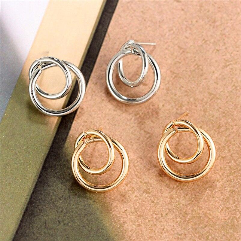 2018 Trendy stud earrings for Women Punk Tone Bamboo Bling Big Hoop Joint Hiphop Circle Pierced Earrings Brincos J04#N (1)