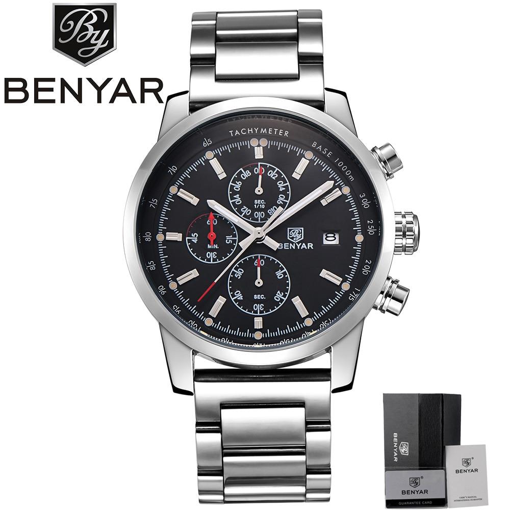 Luxury Men Watches Full Steel Japan Quartz Wrist Watch BENYAR Military Business Sports Watch Mens Chronograph erkek kol saati<br>