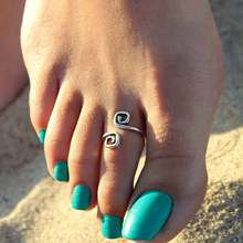 Women summer style ring Lady Unique Retro Silver Plated Nice Toe Ring Foot Beach(China)