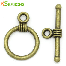 8SEASONS Toggle Clasps Round Antique Bronze 16x11mm 19x6mm,100 Sets (B28529)