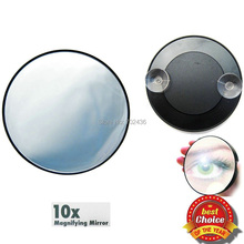 Free shipping magnifying mirror 10 times makeup Mirror with Suction Cups cosmetic mirror with sucker pocket mirror for travel(China)
