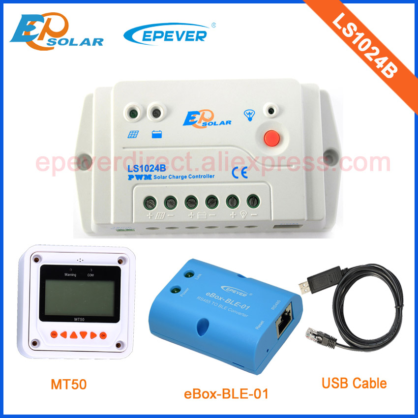 High quality of white MT50 remote meter 10A solar controller with USB cable and BLE function PWM LS1024B<br>