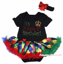 Personalized 1st Birthday Black Bodysuit Rainbow Rhombus Girls Baby Dress NB-18M(Hong Kong)