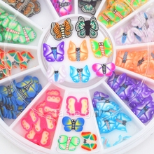 12 colors fimo Nail Art Decoration slice wheel beauty nails accessoires jewelry Manicure DIY Tools Butterfly design nail sticker
