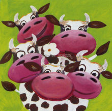 Handmade bulk items Funny animals cow wall stickers Wall Picture on Canvas oil painting for living room kids room home decor