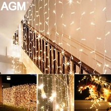 AGM LED Curtain Icicle String Light 5M 96LEDs Droop 0.3-0.5M Christmas New Year Decoration Garland Fairy Light For Wedding Party(China)