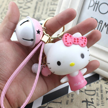 Samyueng Cute Big Hello Kitty Key Chains for Best Friends Bell Cat Anime Keychains Women Love Key Chain Holder Keying Porte Clef