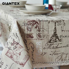 GIANTEX Tower Print Decorative Table Cloth Cotton Linen Lace Tablecloth Dining Table Cover For Kitchen Home Decor U0996(China)