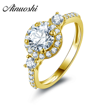 AINUOSHI 10k Solid Yellow Gold Women Rings Joyas de oro 10k Engagement Finger Band Classic 1 Carat Halo Wedding Rings for Women