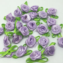 50pcs Lilac Mini Rose Flowers With Green Leaves Ployester Ribbon Flower Embellishments For Wedding Deco Hair Clip DIY Jewelry(China)