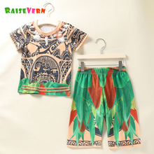 2PCS Cute Sports Kids Summer Moana Maui Cartoon Children Sets Funny Suits Baby Boys Short Sleeve T-shirt Clothing Outfit(China)