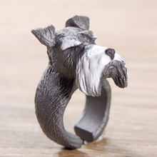 New Fashion Gray Dog Rings 3D Finger Cute Trendy Animal Rings for women charm jewelry
