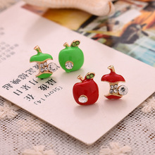 summer style new design fashion brand jewelry green and red apple stud earrings for women metal crystal simple earrings(China)