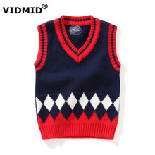 1-5Y Baby Boy V-neck Sweater Vest Children sweatercoat Kids Knit Jacket Brand waistcoat Outwear Winter Coat Clothes