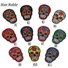 Han Noble Mixed Skull Badge Embroidered Patches Sticker for Clothes iron on Sewing Accessories Appliques DIY Crafts  P138 10PCS