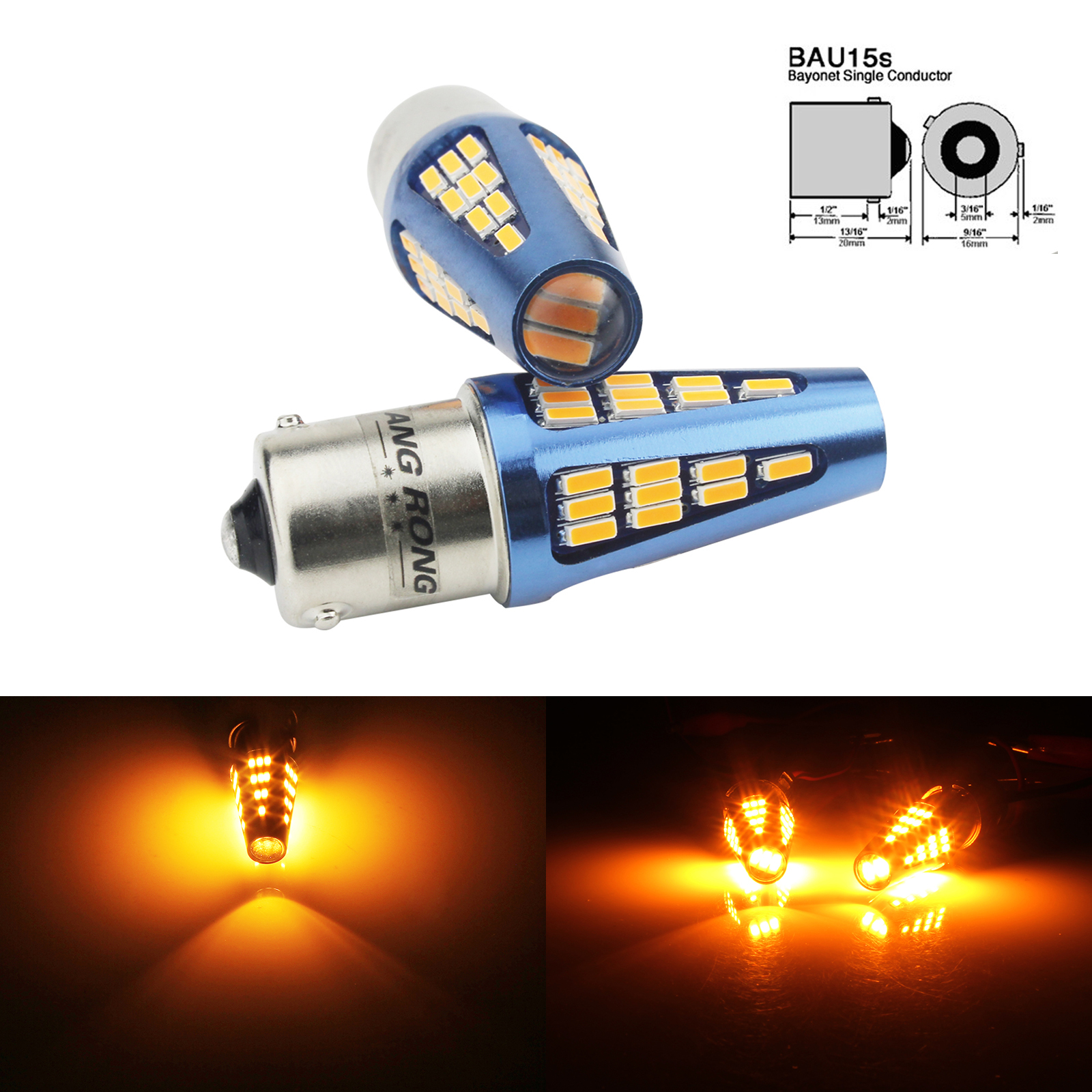 2x For BMW 3 Series E36 BAU15S 18-LED Front Indicator Repeater Turn Signal Bulbs