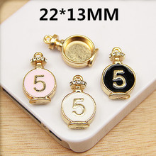 Newest 30PCS 22*13MM Fashion Perfume Pendant Charms Gold Tone Enamel Number 5 Paved DIY Jewelry Charms Oil Drop Alloy Charm(China)