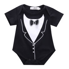 Infant Newborn Baby Boy Tuxedo Bodysuit Jumpsuit One-pieces Gentleman Short Sleeve Clothes