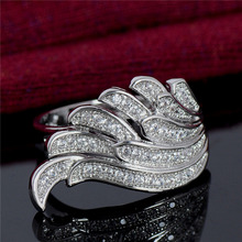 H:HYDE Noble jewelry Silver Color Rings cubic Zirconia charming Angel wings lady wedding and engagement party ring size 6-10