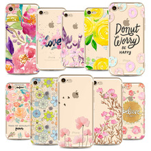 Beautiful Floral Cherry Blossom Leaves Donuts Phone Case Cover For iphone 7 6 6S 6Plus 5 5s Transparent Silicone Cell Phone Case