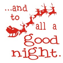 Santa Claus Christmas Deer to all a good night Shop Window Wall Art Decoration Sticker Decal -xmas08(China)