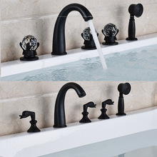 Deck Mounted Black 5pc Crystal Handles Bathtub Faucet Taps Deck Mounted Bathroom Bath Shower Set with Handshower