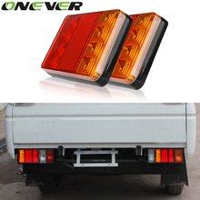 2pcs Waterproof 8 LED Tail Light Rear Lamps Pair Boat Trailer 12V Rear Parts for Trailer Truck Reverse Indicator for Caravan