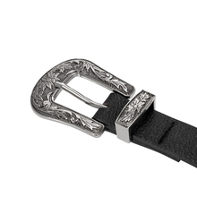 Women waist belt Black Leather Western Cowgirl Waistband Silver Double Metal Buckle Belt H9(China)