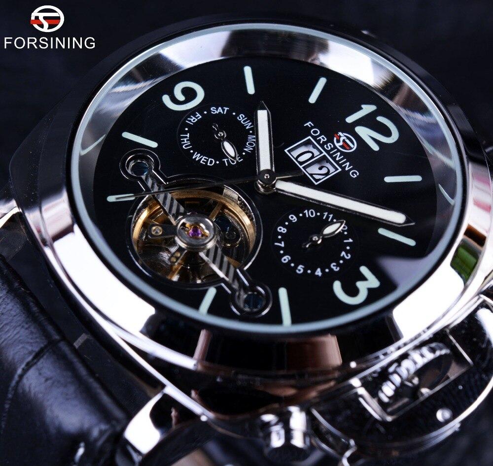 Forsining Genuine Leather Luxury Brand Design Men Watch Top Brand Luxury Automatic Tourbillon Sport Casual Military Watch Clock<br>