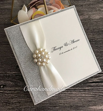 Luxury Silver Wedding Invitations with Antique White Ribbon and Crystal Embellishment(China)
