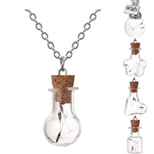 Wishing Bottle Necklace Silver Color with Natural Dried Dandelion Glass Vial Jar Handmade Choker Necklace Pendant for Women