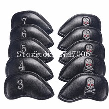 Free Shipping 10PCS New Thick PU Artificial Leather Black Skeleton Golf Skull Iron Headcover Sets Iron Club Head Cover(China)