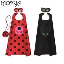 Monya lady bug kids Halloween cloak mack Girls Miraculous Ladybug Girls Costume sets Ladybug Child Lady Bug sets