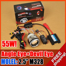 hot sale AC/55W 2.5  M328 MOTORCYCLE BIKE HID BI-XENON PROJECTOR LENS KIT ANGEL DEVIL EYE for free shpping