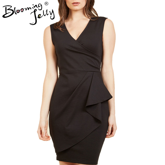 Blooming Jelly Black Deep V Neck Dress Package Hip Ruched Office Dress 2017 Women Dress