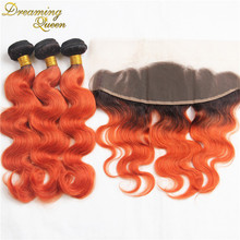 T1B/350 Orange Red Human Hair Weave Indian Virgin Ombre Hair Extensions Weave Bundles 3 Pcs/Lot With Pre-plucked Frontal Closure